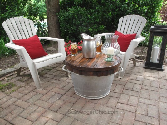 Pallet Wood Butcher Block Top over a  Galvanized Wash Tub, small outdoor table-013