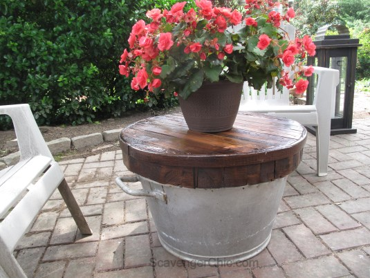 Pallet Wood Butcher Block Top over a  Galvanized Wash Tub, small outdoor table-016