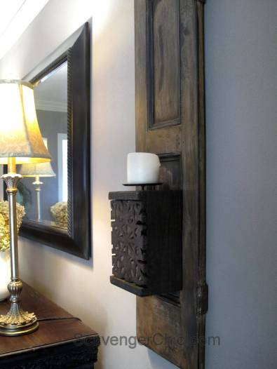 Recycled Shutters and Candles Wall Sconce-012