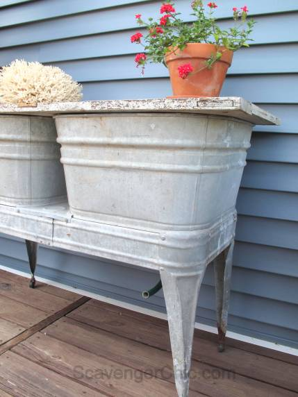 Recycled Wash tubs and Old Door Side Table-001