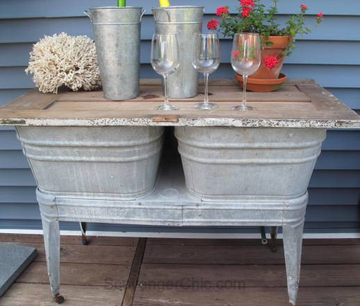 Recycled Wash tubs and Old Door Side Table-003