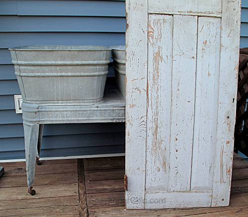 Recycled Wash tubs and Old Door Side Table