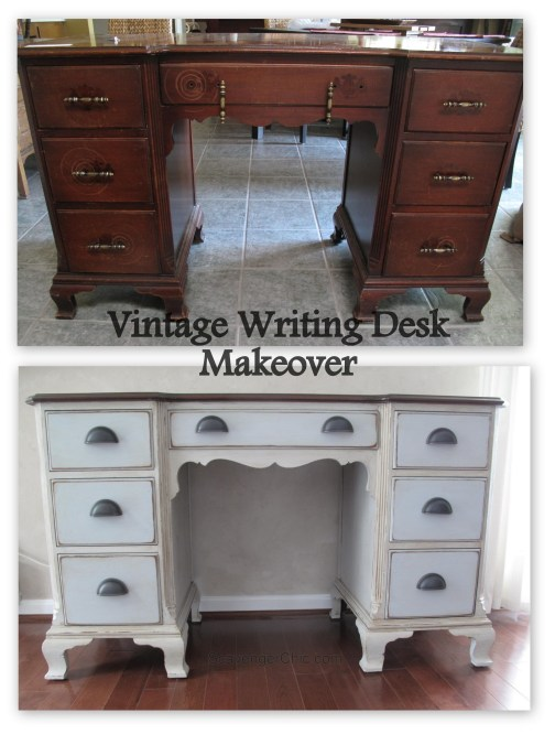 Before and After Vintage Writing Desk