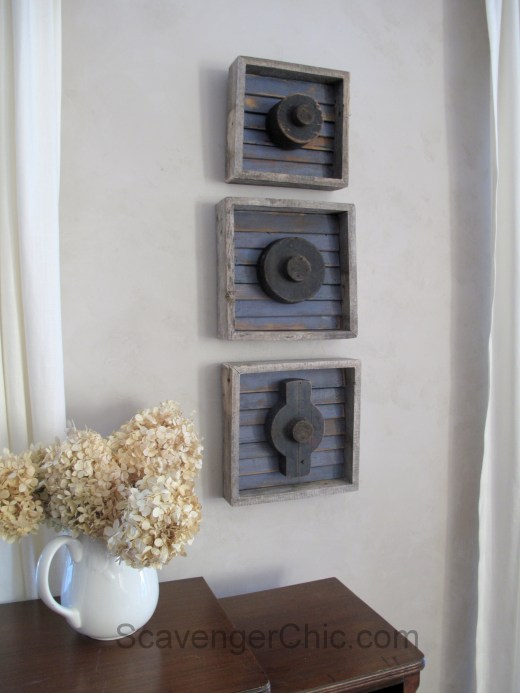 Pallet Wood and Shingle Slats shadowbox with railroad foundry molds