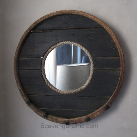 Upcycled Barrel Hoop and Pallet Wood Mirror