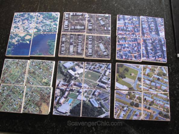 DIY Personalized Map Tile Coasters centered on your home