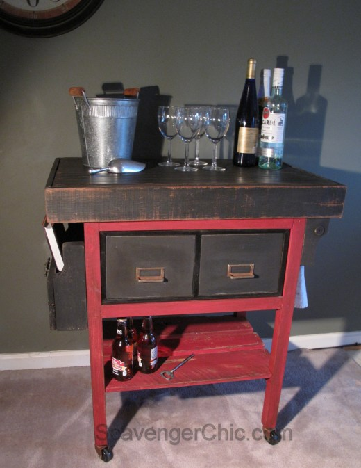 Upcycled Metal File Cabinet, bar cart, kitchen cart