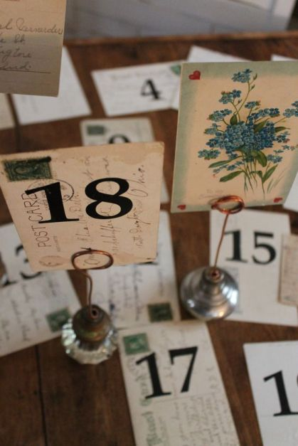 Postcards and Doorknobs Table Numbers