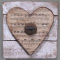 Valentine wooden heart -Pallet wood, vintage sheet music and rusty junk upcycle