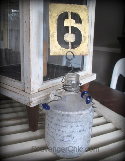Vintage Bottle and Cardboard Stencil Wedding Table Number