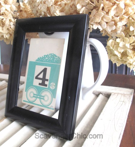 Vintage Number Flash Card Wedding Table Number