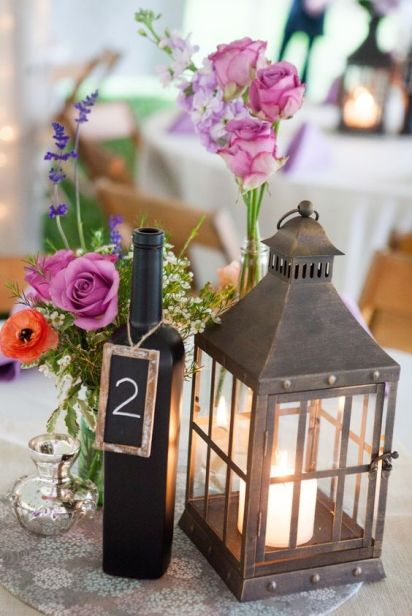 Wine Bottle and Chalkboard Table Numbers