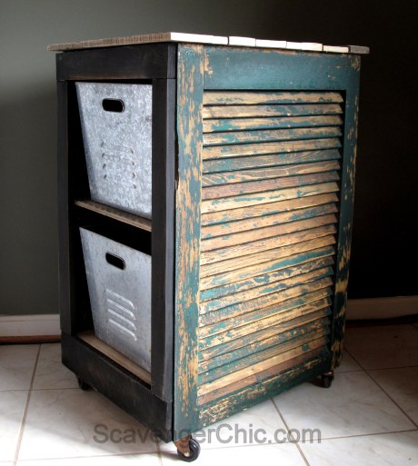 Upcycled Shutter Utility Cart, Bar Cart
