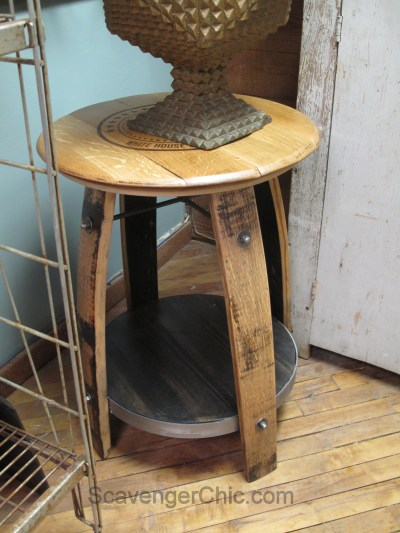 Upcycled Wine Barrel Side Table