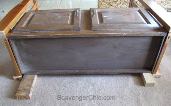Upcycled Baby Crib and Kitchen Cabinet Bench