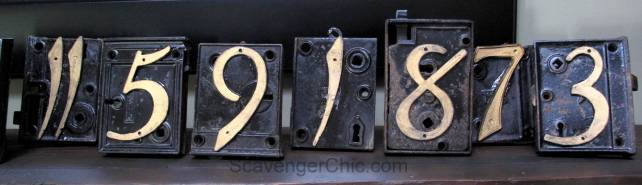 Upcycled Mortise Lock Table Numbers