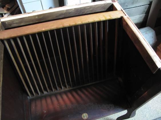Vintage Record Cabinet, furniture repair, veneer repair