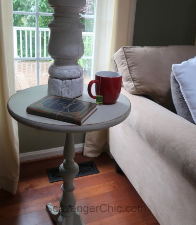 Converted two tier table chalk paint diy
