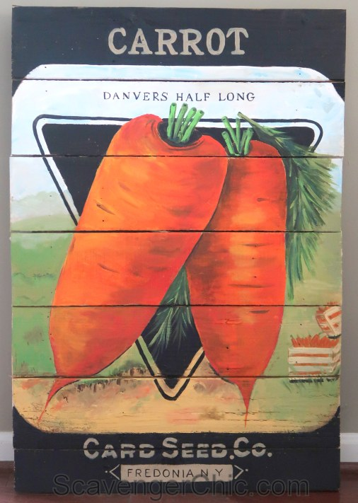 Vintage Carrot Seed Packet Pallet Wood Sign