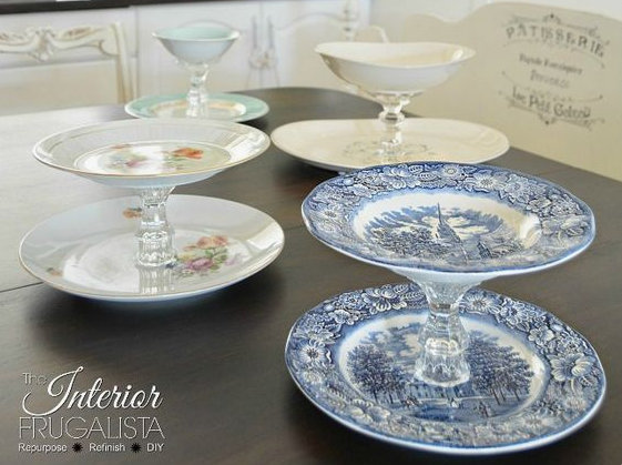DIY and Homemade Gifts - Cake Stands with Vintage China