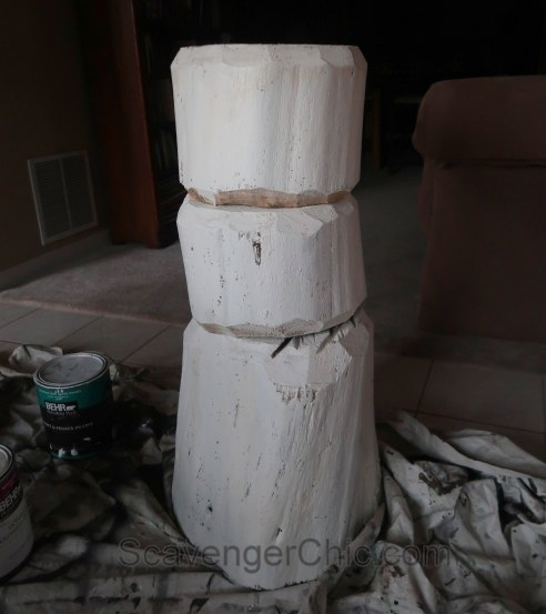 Four foot tall Log Snowman DIY