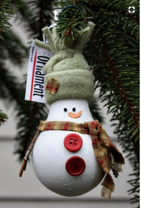 Homemade and DIY Gifts- Lightbulb snowman