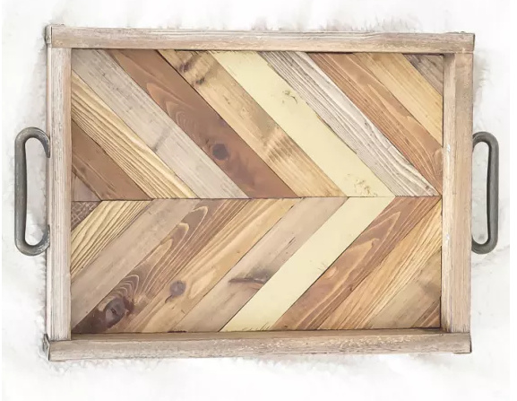 Rustic Serving Tray with Gold Arrow Accent .bmp