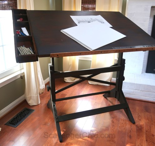 Thrift Store Drafting Table gets a much needed Makeover