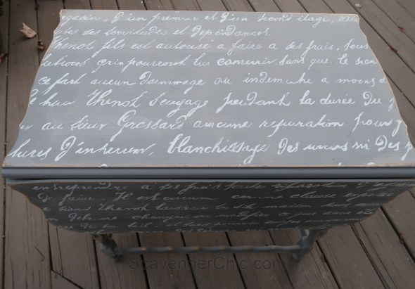 Vintage French lettering chalk painted wood table.