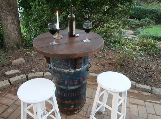 Upcycled Barrel Bistro Table and Stools