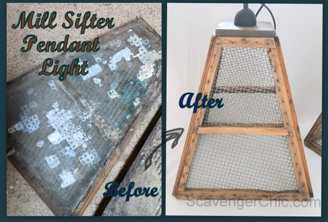 Mill Sifter Pendant Light Before and After