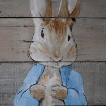 Hand Painted Peter Rabbit on Pallet Wood