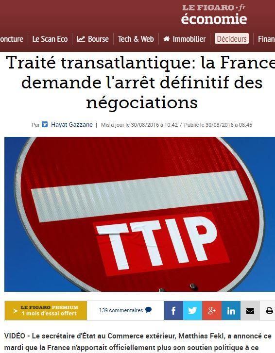 FLASH: La Francia chiude definitivamente il TTIP