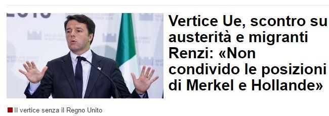 Miracolo a Bratislava: Renzi sbatte la porta in faccia a Merkel ed Hollande su crescita e migranti (alla buon'ora!)