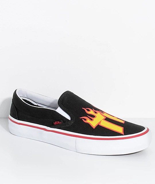 Vans x Thrasher Slip On Pro Black Skate Shoes   Zumiez Vans x Thrasher Slip On Pro Black Skate Shoes