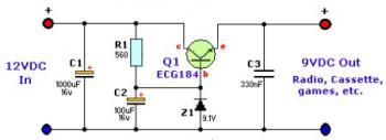 12VDC to 9VDC Converter circuit diagram