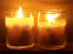 Votive candles made from scraps of old candles