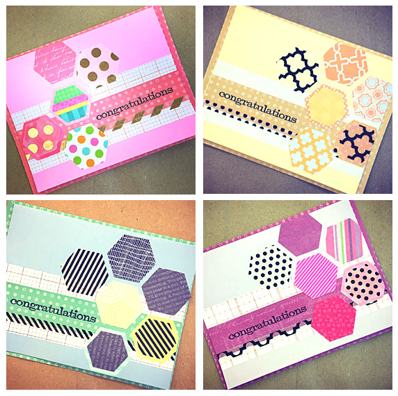 Handmade greeting cards with geometric designs carolyn hasenfratz handmade greeting cards made with hexagon paper punches m4hsunfo