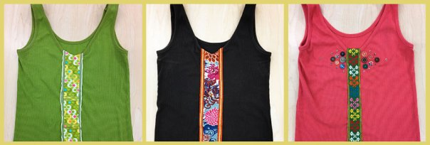 Tank tops embellished with upcycled fabric, trim, beads and buttons.