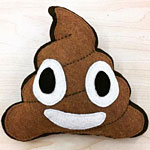 Poop Emoji Felt Pillow