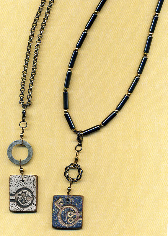 Convertible necklaces with polymer clay pendants