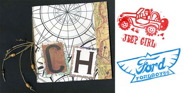 Letterboxing logbook and samples of personal stamps