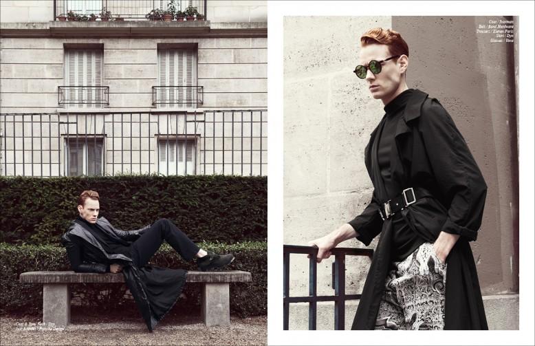 Coat & Total Neck / Dyn Suit & Shoes / Porsche Design Coat / Ivanman  Belt / Bond Hardware Trousers / Eleven Paris  Shirt / Dyn  Glasses / Vava