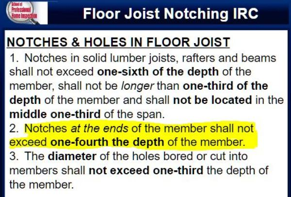 Notches in floor joists may occur in the top or bottom of the member but may not be located in the middle third of the span. A notch may not exceed one-sixth of the depth of the joist except at the very end where it may be one-fourth of the joist depth.