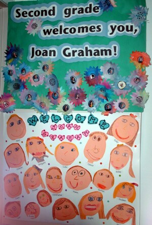 Second graders welcomed poet Joan Bransfield Graham with this door decoration.