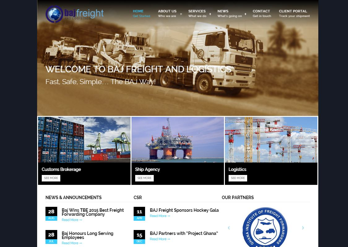 Sci-Fi Web Tech launched the BAJ Freight and Logistics Limited website