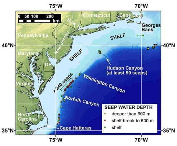 Natural Methane Seepage on U.S. Atlantic Ocean Margin Widespread