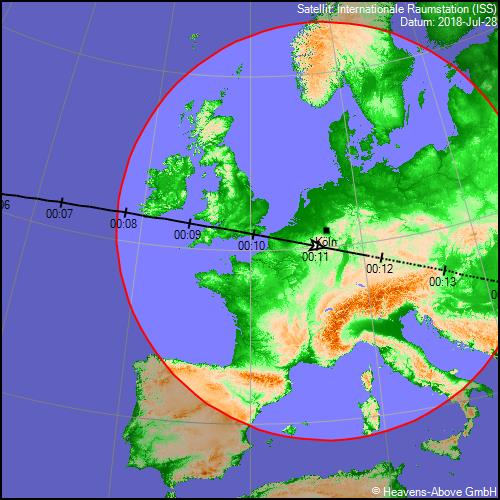 2. Überflug der ISS gegen 0:10h. Bild: heavens-above.com.