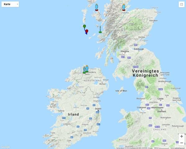 Sichtungen des Boliden am 9.11.2018 um 6:45 UT von Schottland und Irland aus. Quelle: International Meteor Organisation.