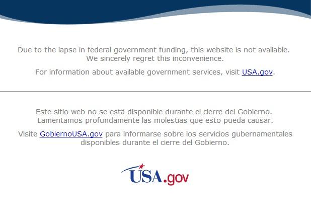Screenshot http://www.nasa.gov vom 6. Okt. 2013